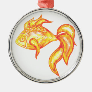 Ornament with crystal golden fish