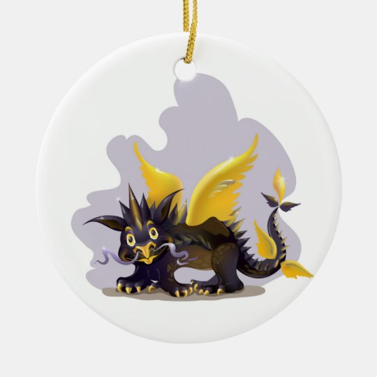 Ornament with funny black dragon picture