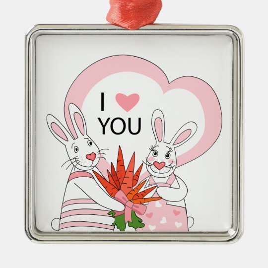 Ornament with funny rabbit couple