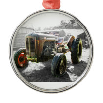 ORNAMENT WITH Old Vintage Tractor farm machinery