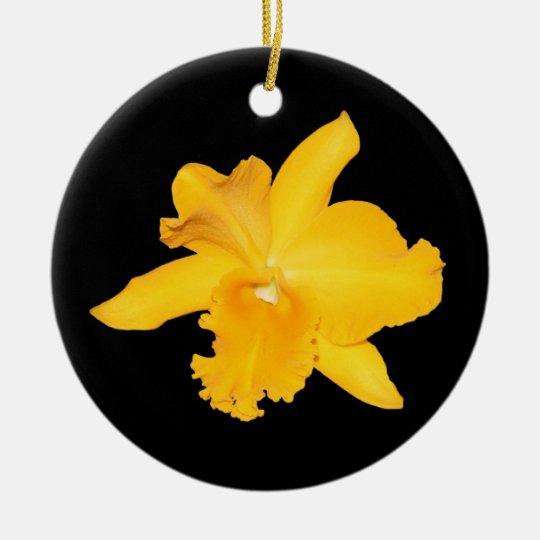 Ornament, yellow and orange orchids ceramic ornament