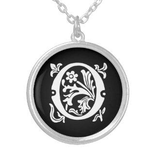 Ornamental Alphabet Monogram Letter O Silver Plated Necklace