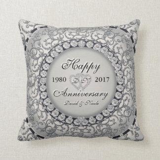 Ornamental Anniversary Custom Monogram Pillow