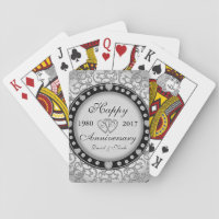 Ornamental Anniversary Custom Monogram Playing Cards