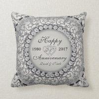Ornamental Anniversary Custom Monogram Throw Pillow