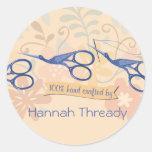 Ornamental bird stork scissors sewing seamstress classic round sticker