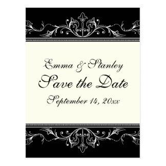 Ornamental border black white Save the Date Postcard
