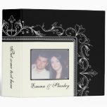 Ornamental border black white wedding binder binders