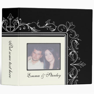 Ornamental border black white wedding binder