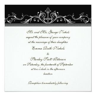 Ornamental border black white wedding invitation