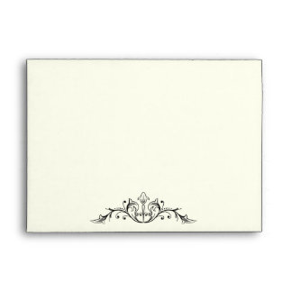 Ornamental border coral white wedding envelope