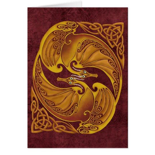 Ornamental Celtic Dragons Card