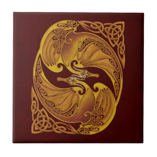 Ornamental Celtic Dragons Ceramic Tile