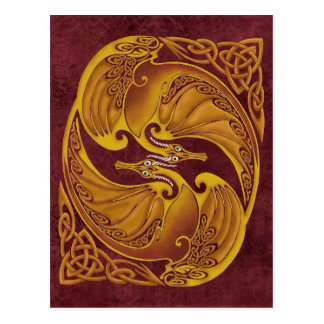 Ornamental Celtic Dragons Postcard