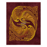 Ornamental Celtic Dragons Poster