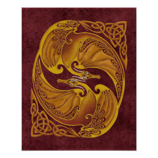 Ornamental Celtic Dragons Posters