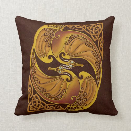 Ornamental Celtic Dragons Throw Pillow