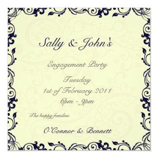 Ornamental cirrus tendril engament wedding invitat card