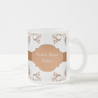Ornamental Copper & White Frosted Glass Coffee Mug