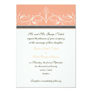 Ornamental coral white custom wedding invitation