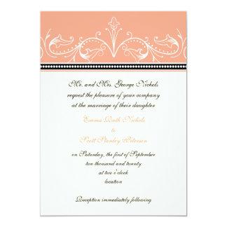 Ornamental coral white custom wedding invitation