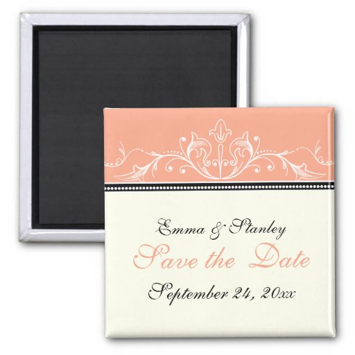 Ornamental coral white Save the Date magnet