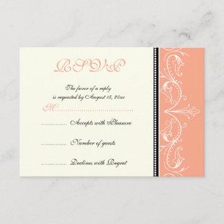 Ornamental coral white wedding RSVP card