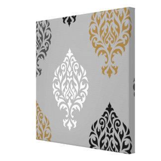 Ornamental Damask Art I Black White Greys Gold Canvas Print