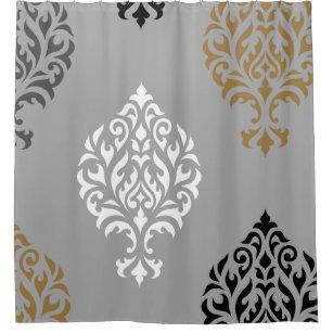 Ornamental Damask Art I Black White Greys Gold Shower Curtain