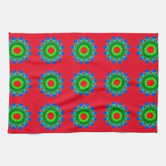 Ornamental Design with Red on Hand/Kitchen Towel