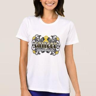 Ornamental floral de la conciencia del cáncer de tshirts