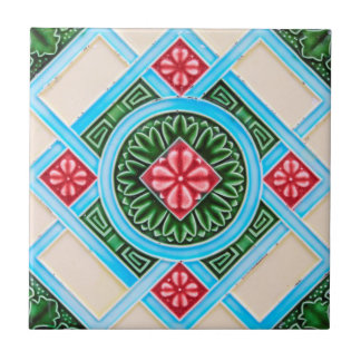 Ornamental floral rojo y verde azulejo cuadrado pequeño