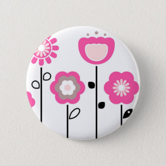 Ornamental flowers on white button