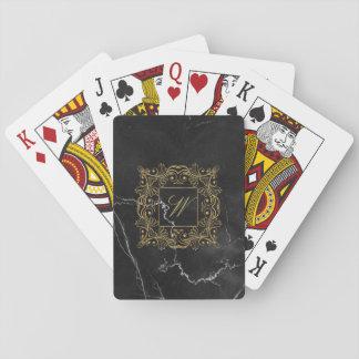 Ornamental Frame Monogram on Black Marble Playing Cards