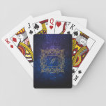 """Ornamental Frame Monogram on Blue Galaxy Playing Cards<br><div class=""""desc"""">Create your own &#39;Ornamental Frame Monogram on Blue Galaxy&#39; by Mono Mojo.</div>"""