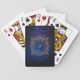 Ornamental Frame Monogram on Blue Galaxy Playing Cards
