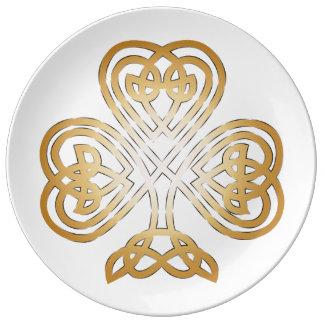 Ornamental Gold Celtic Shamrock Dinner Plate