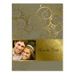Ornamental Gold Spiral Vine Save The Date Postcard