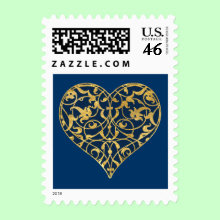 Ornamental Heart Stamp - Heart with floral ornamental pattern. Personalize with your own text. Background color can be changed.