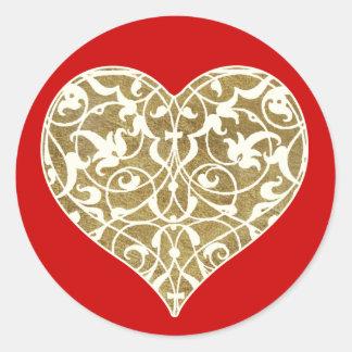Ornamental Heart Round Stickers