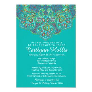 Ornamental Hindu Inspired Mandala Bridal Shower 5x7 Paper Invitation Card