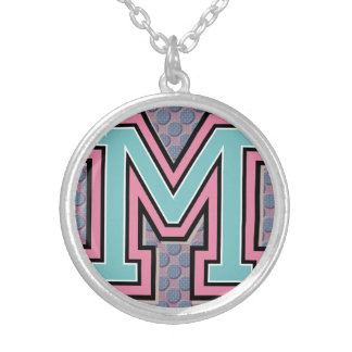"""Ornamental Initial """"M"""" Silver Plated Necklace"""