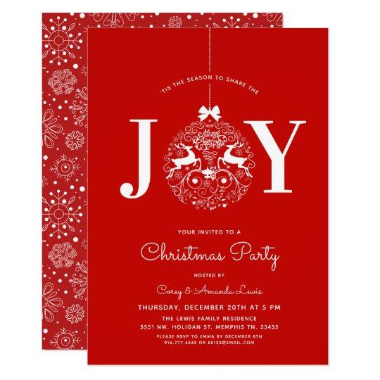 Ornamental Joy Christmas Dinner Party Red Invitation