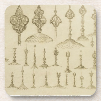 Ornamental knobs shaped as domes and minarets, fro beverage coaster