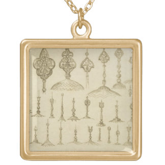 Ornamental knobs shaped as domes and minarets, fro gold plated necklace