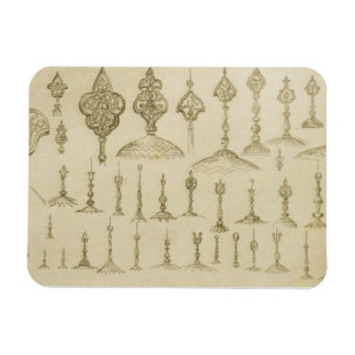 Ornamental knobs shaped as domes and minarets, fro rectangle magnet