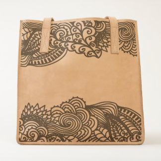 Ornamental Lace Pattern Leather Tote
