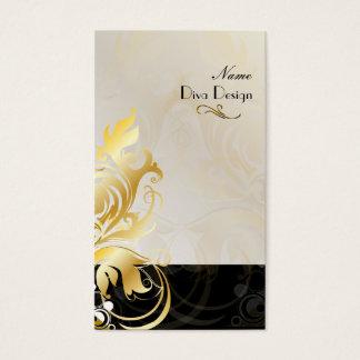 Ornamental leaves/swirls black/gold business card