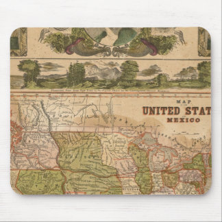 Ornamental Map of The United States and Mexico Mouse Pad