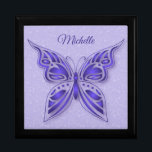 """Ornamental Purple Butterfly Jewelry Box<br><div class=""""desc"""">This lovely keepsake box features an ornamental purple butterfly on a light purple and white floral background. The text can be removed or customized for yourself or the recipient of this lovely item. Available in Mahogany,  Golden Oak and Black.</div>"""